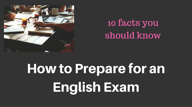 student preparing for an english exam