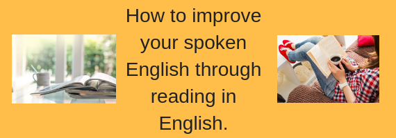 student improving her spoken English by reading
