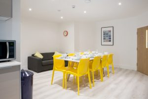 The sleek and modern dining area in the LSI Portsmouth Student house.