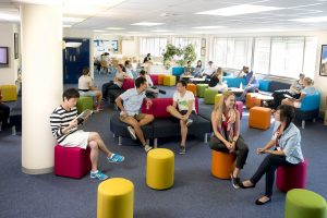 Students relaxing in the student lounge