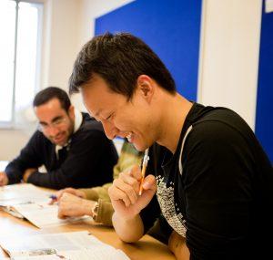 General English student working hard