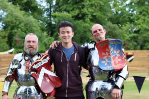LSI student dresses as knight at Arundel castle.