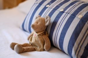 A soft toy on an LSI Portsmouth bed.