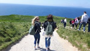 LSI Portsmouth students taking a walk along the Jurassic coast.