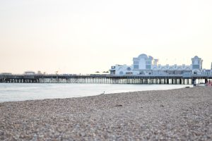 The pebble beach in Portsmouth