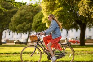 Student cycling around Portsmouth