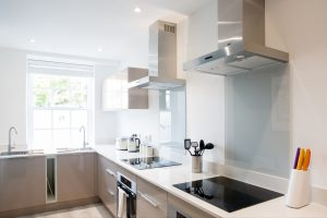 The LSI Portsmouth Student house kitchen, sleek and modern