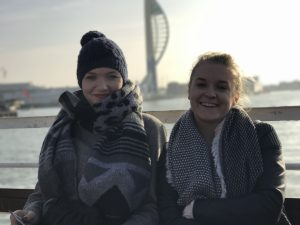 Laughing pair of LSI Portsmouth students on boat tour