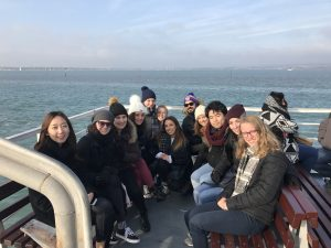 students on boat tour of Portsmouth bay