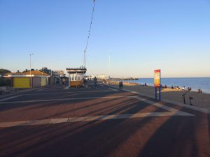 Walking under the Portsmouth sun down the promenade