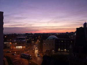 Portsmouth city scene with sun setting