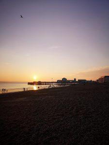 Portsmouth sun setting over Southsea beach