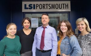 Reception team outside LSI Portsmouth
