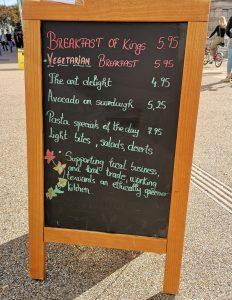 Food menu outside 113.