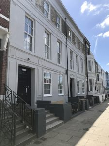 LSI Portsmouth Student house street view, sunny day.