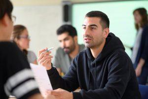 Italian student focusing on serious work