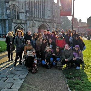 LSI Portsmouth students posing outside Winchester Cathedral grounds