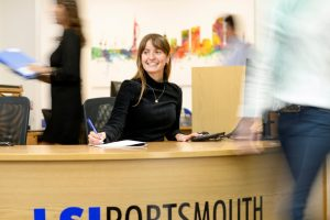 LSI Portsmouth receptionist smiling
