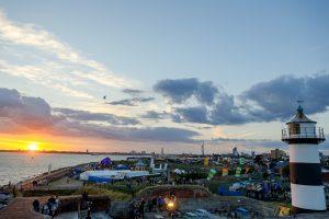 Portsmouth sun setting over Southsea castle