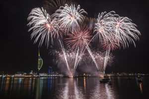 Spinnaker tower with fireworks