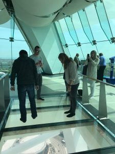 The glass floor in the Spinnaker tower.