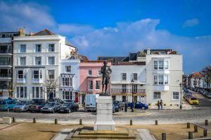 Statue of Lord Nelson in Portsmouth streets