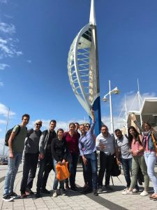 LSI Portsmouth students pose outside spinnaker tower