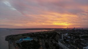 Sun setting over Portsmouth beach