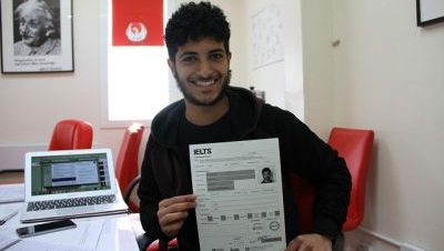 IELTS student studying online
